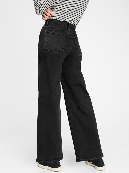 Kadın Siyah Wide-Leg Jean Pantolon