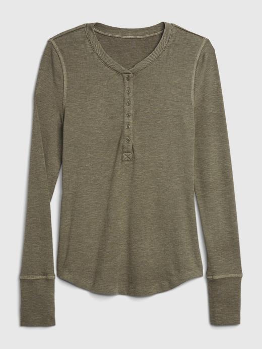 Kadın Yeşil Henley V Yaka T-Shirt