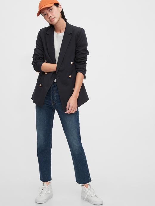 Kadın Lacivert Çift Düğmeli Blazer Ceket