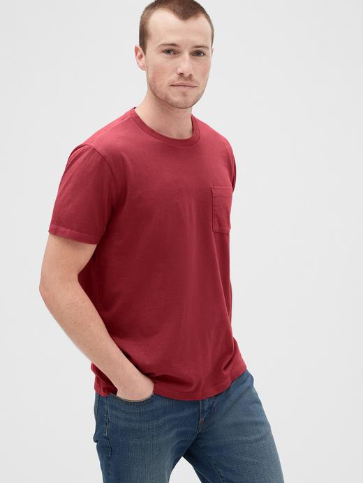 Erkek Kırmızı Vintage Cepli T-Shirt