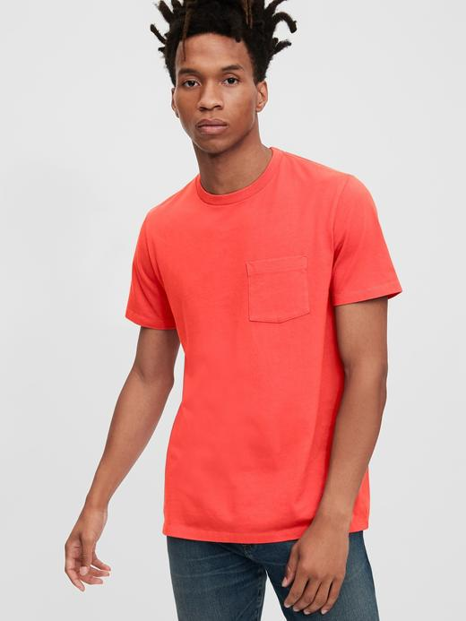 Erkek Turuncu Vintage Cepli T-Shirt