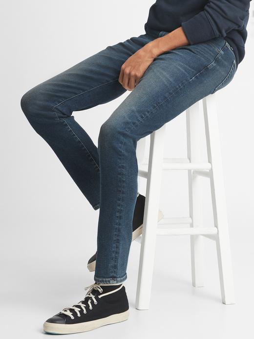 Erkek Lacivert High Rise Slim Taper Jean Pantolon