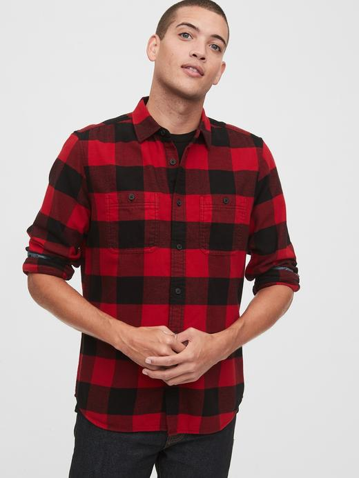 Erkek Kırmızı Standart Fit Ekose Gömlek