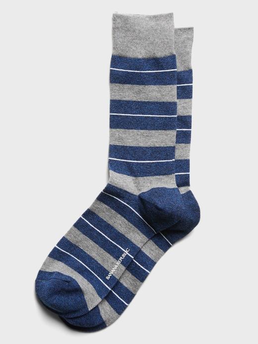 Erkek Gri Çizgili Soket Çorap