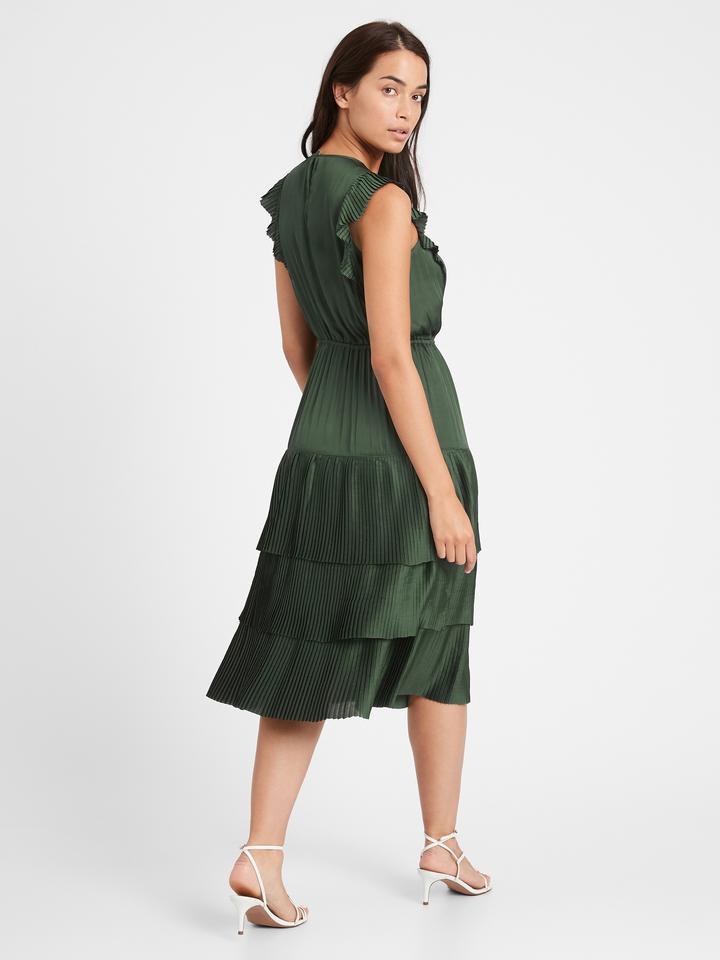 Kadın Yeşil Saten Midi Elbise