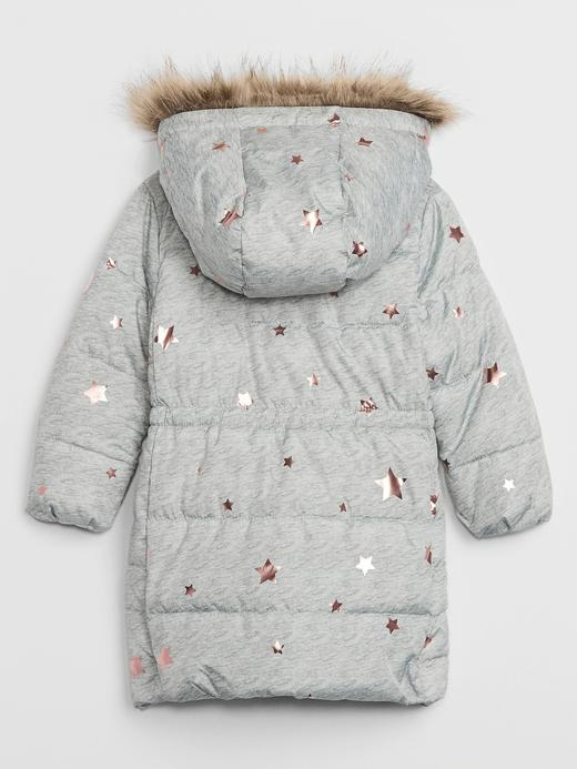 Kız Bebek Gri ColdControl Uzun Pufa Mont