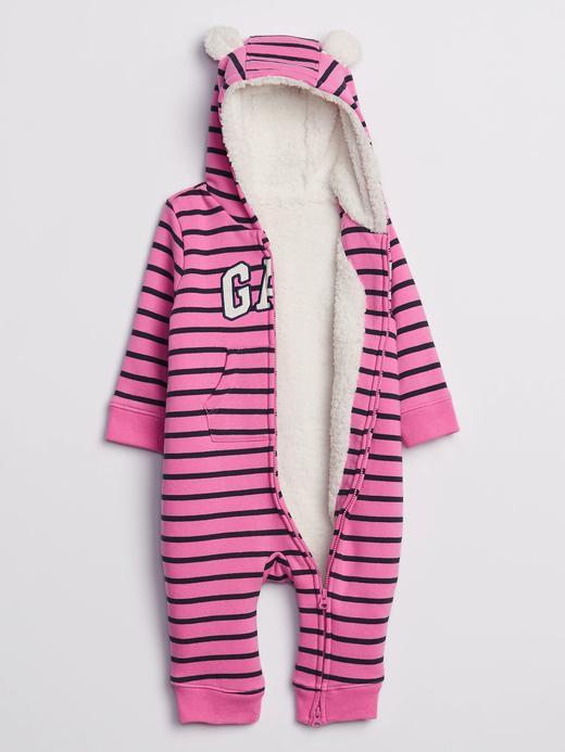 Kız Bebek Pembe Gap Logo Kapüşonlu Tulum