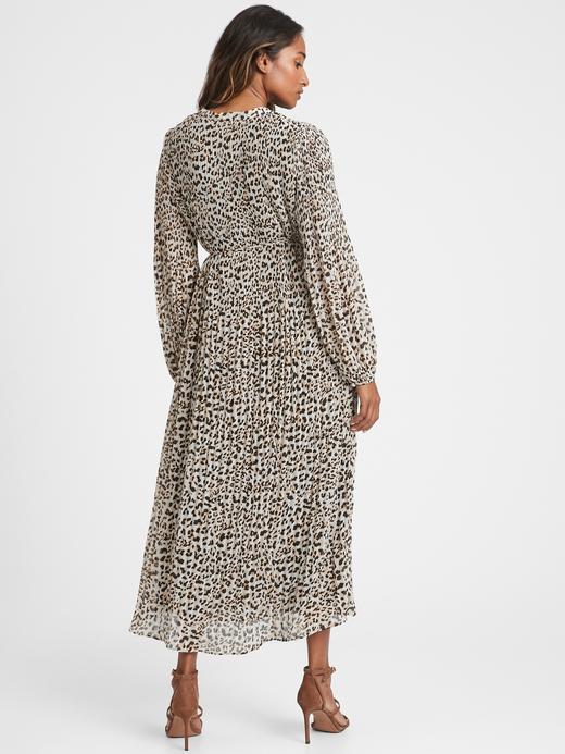 Kadın Kahverengi Desenli Midi Elbise