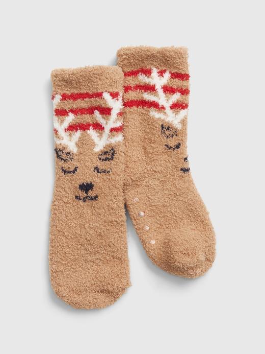 Bebek Kahverengi Desenli Çorap