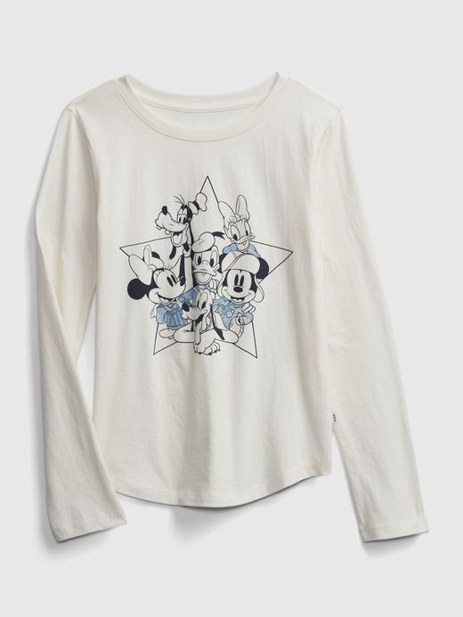 Kız Çocuk Beyaz Disney Mickey Mouse Grafik T-Shirt