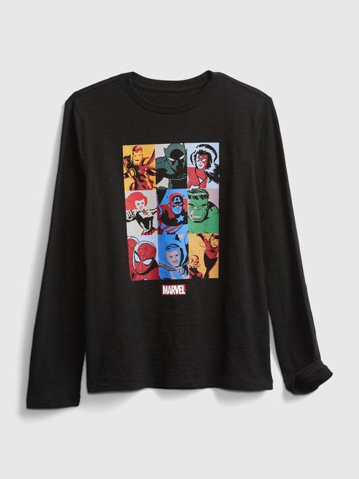 Erkek Çocuk Siyah Marvel Grafik T-Shirt