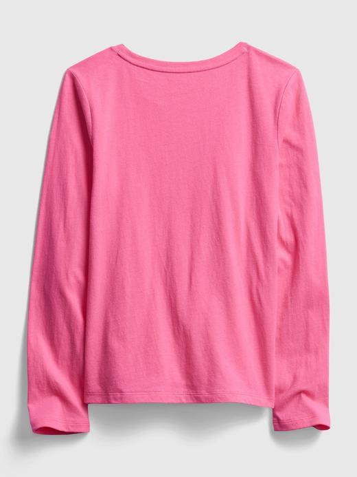 Kız Çocuk Gri Grafik Uzun Kollu T-Shirt