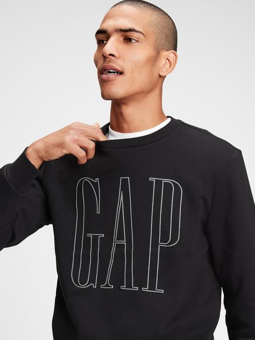 Erkek Siyah Gap Logo Yuvarlak Yaka Sweatshirt