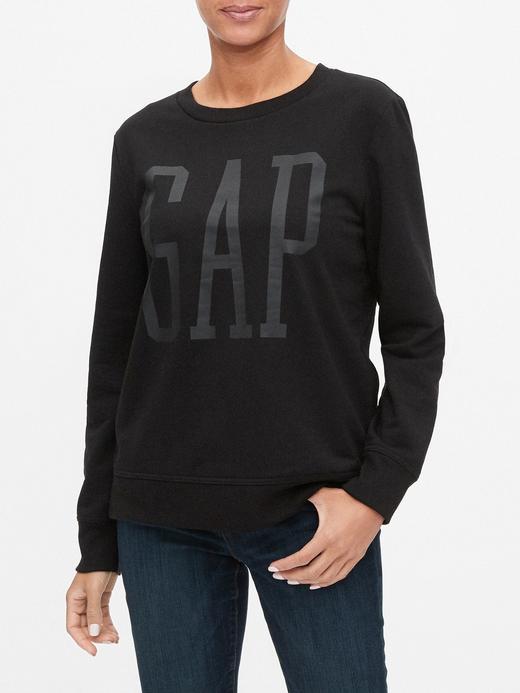 Kadın Siyah Gap Logo Yuvarlak Yaka Sweatshirt