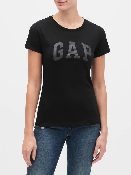 Kadın Siyah Gap Logo Kısa Kollu T-Shirt