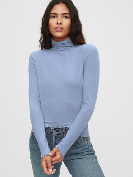 Kadın Mavi Balıkçı Yaka T-Shirt
