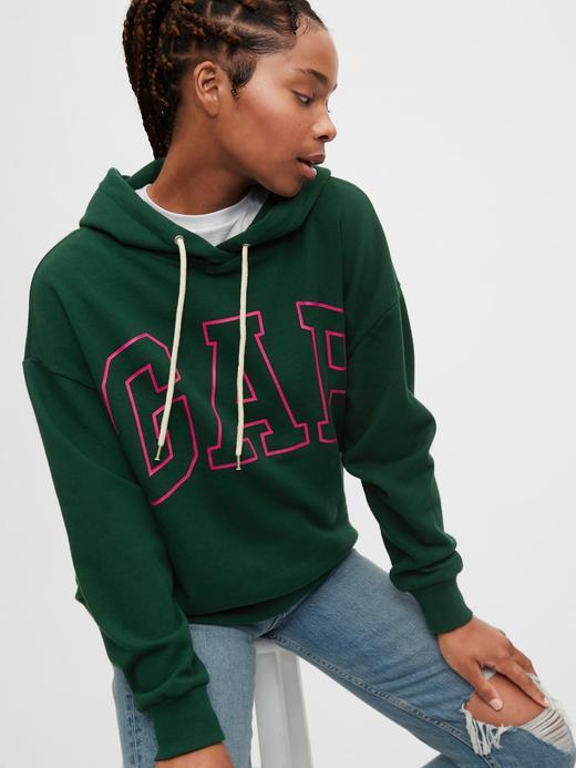 Kadın Yeşil Gap Logo Kapüşonlu Sweatshirt