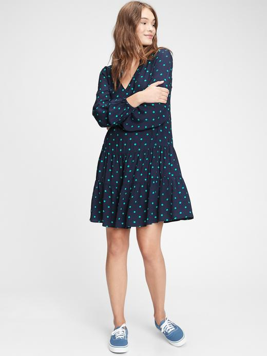Kadın Lacivert Desenli Mini Elbise