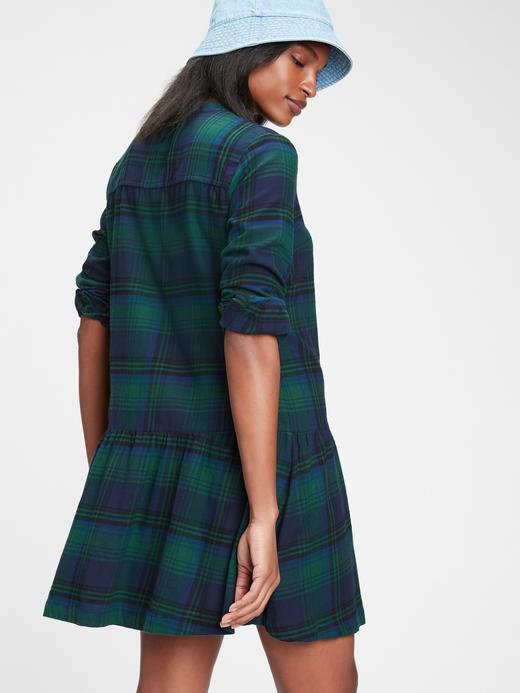Kadın Yeşil Ekose Gömlek Elbise