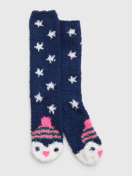 Kadın Lacivert Desenli Cozy Çorap