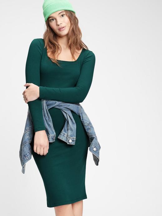 Kadın Yeşil Kare Yaka Elbise