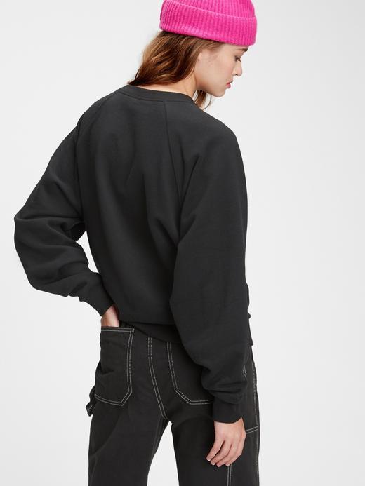 Kadın Gri Gap Logo Yuvarlak Yaka Sweatshirt