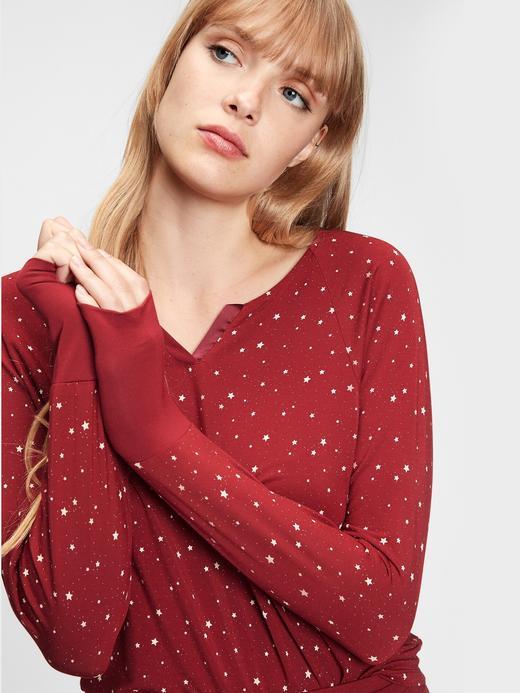 Kadın Kırmızı Modal Karışımlı Pijama Üstü