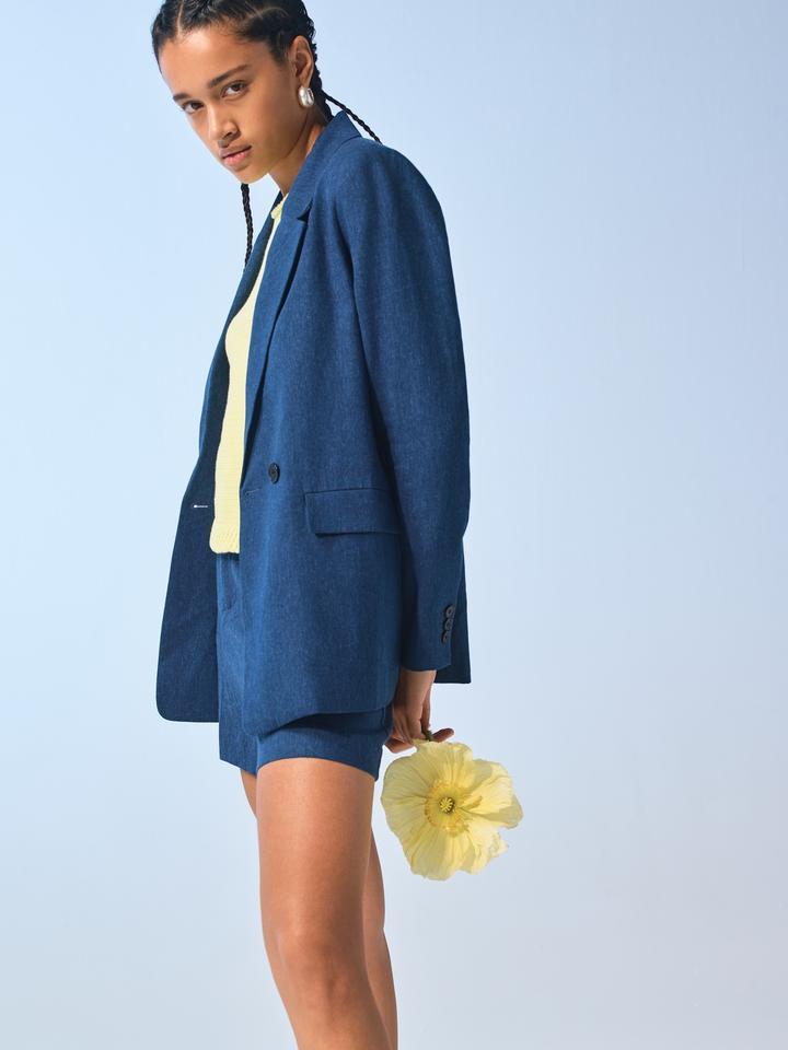 Kadın Pembe Boyfriend-Fit Keten Karışımlı Blazer Ceket
