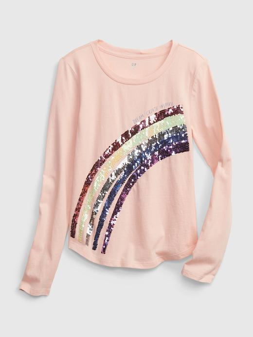 Kız Çocuk pembe Değişen Pullu Uzun Kollu T-Shirt