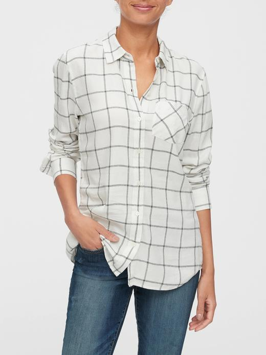 Kadın Beyaz Ekose Gömlek
