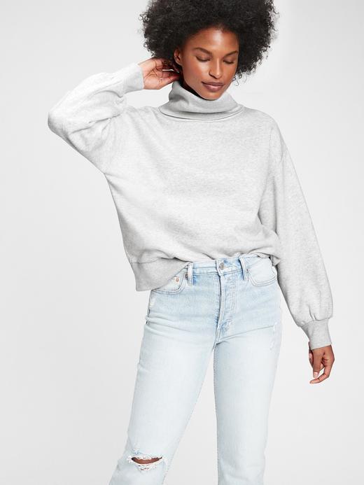 Kadın Gri Balıkçı Yakalı Sweatshirt