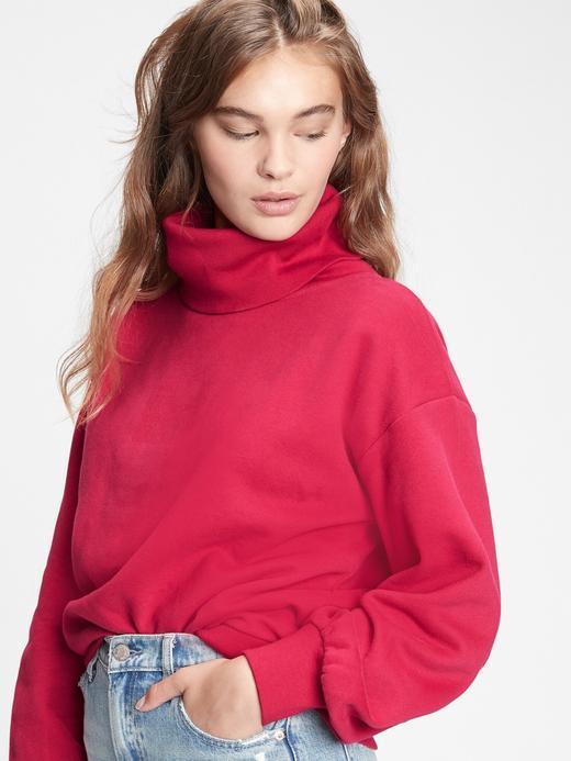 Kadın Kırmızı Balıkçı Yakalı Sweatshirt