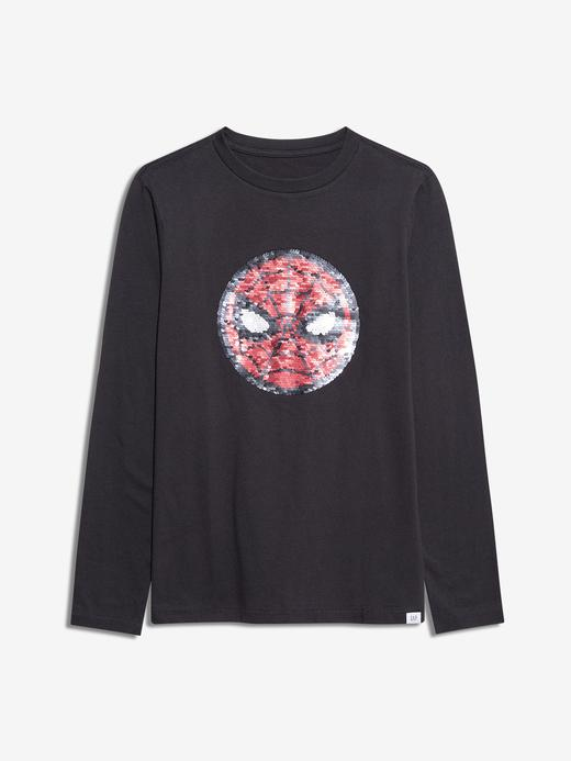 Erkek Çocuk Siyah Marvel™ Değişen Pullu T-Shirt