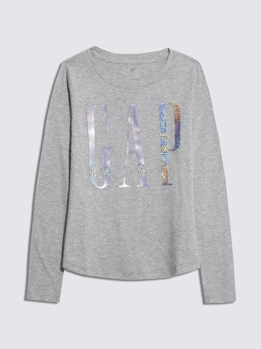 Kız Çocuk Gri Gap Logo Uzun Kollu T-Shirt