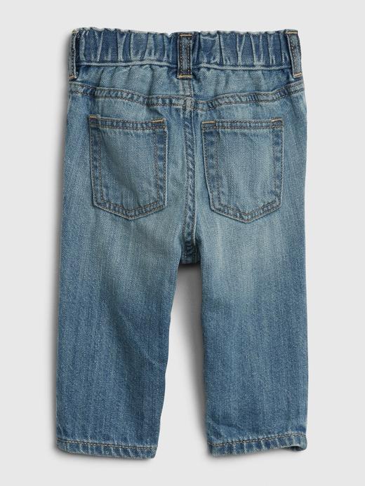 Erkek Bebek Mavi Organik Pamuklu Slim Jean Pantolon