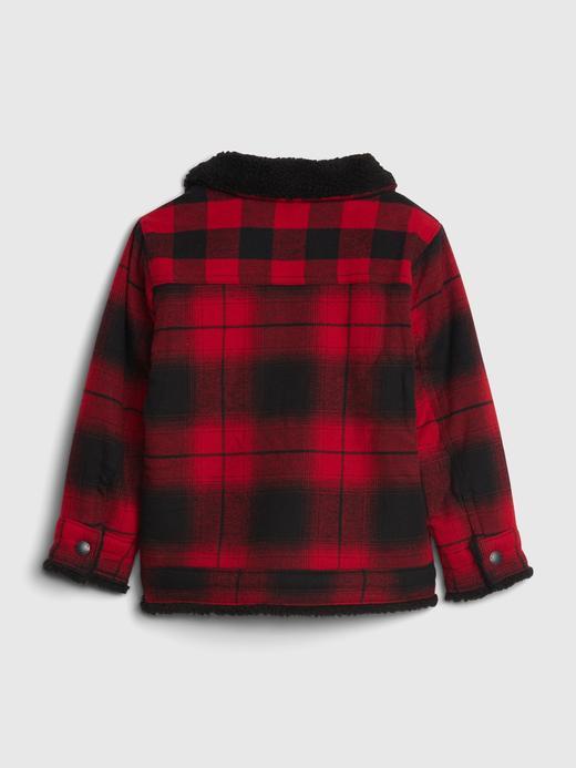 Erkek Bebek Kırmızı Sherpa Astarlı Ekose Ceket