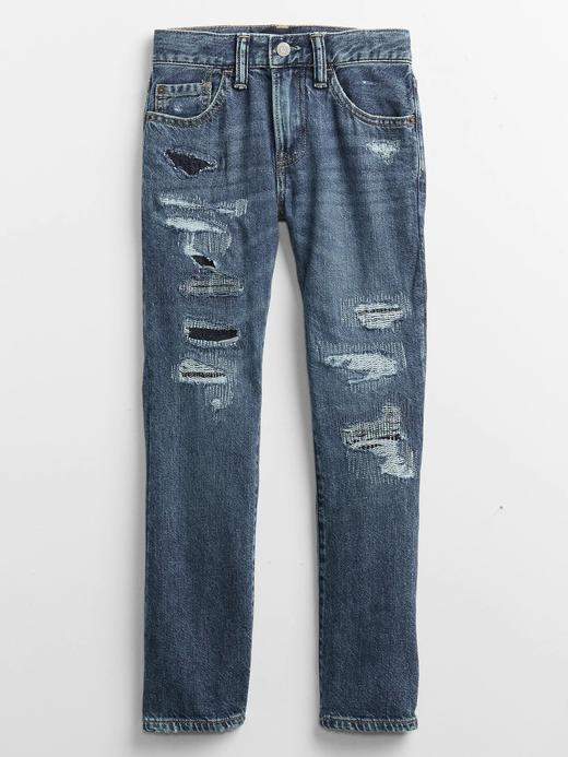 Erkek Çocuk Mavi Destructed Straight Jean Pantolon