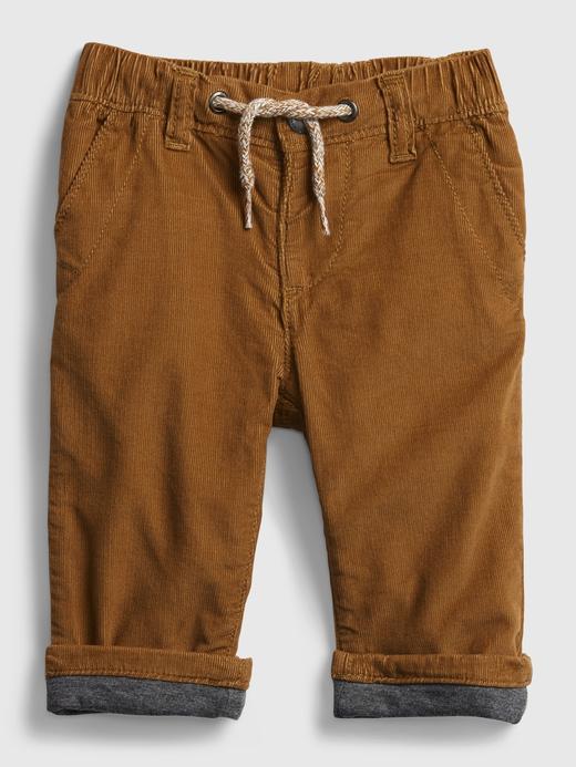 Erkek Bebek Kahverengi Kadife Pull-On Pantolon