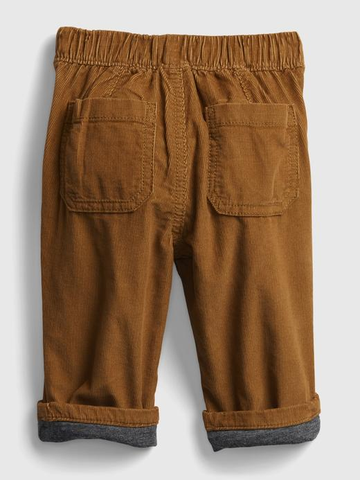 Erkek Bebek Gri Kadife Pull-On Pantolon