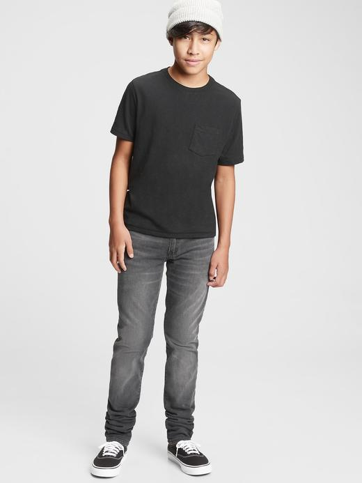Genç Erkek Siyah Genç Erkek | Stacked Ankle Skinny Jean Pantolon