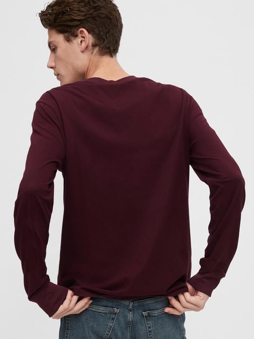 Erkek Gri Gap Logo Uzun Kollu T-Shirt