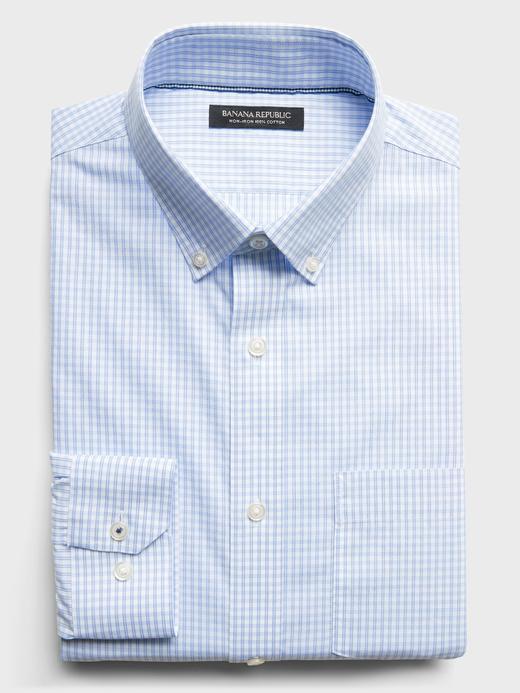 Erkek Mavi Ütü Gerektirmeyen Standart-Fit Gömlek