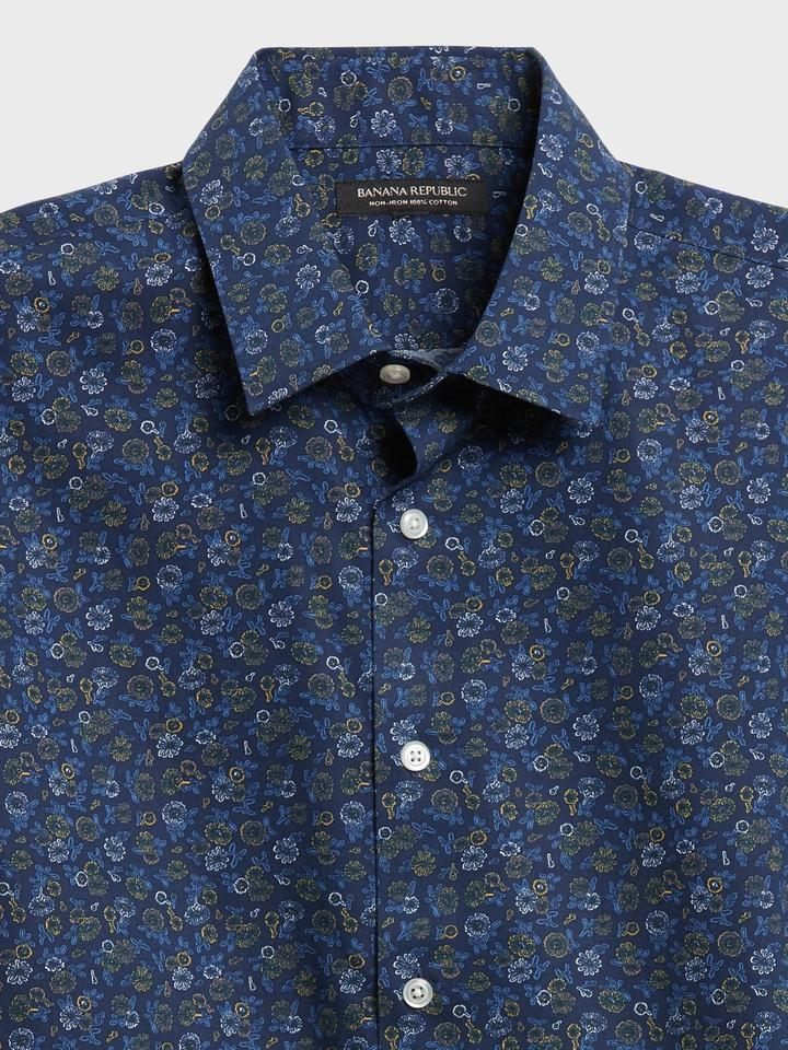 Erkek Lacivert Ütü Gerektirmeyen Untucked Slim-Fit Gömlek