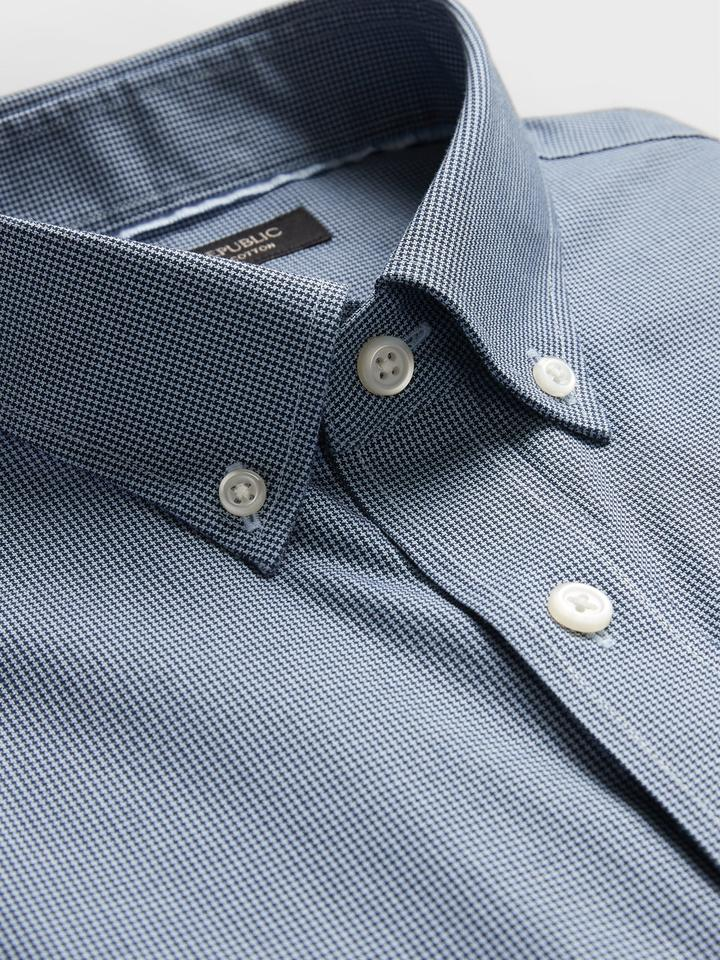 Erkek Lacivert Ütü Gerektirmeyen Slim-Fit Gömlek