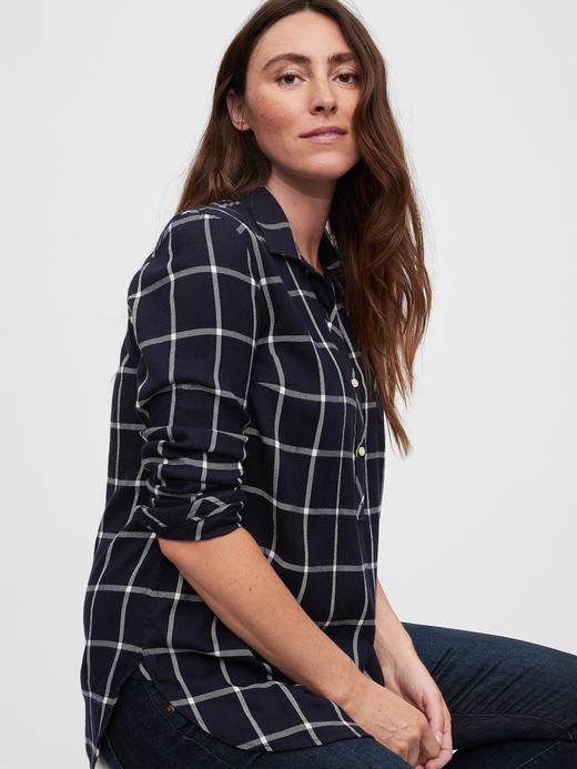 Kadın Lacivert Maternity Ekose Gömlek