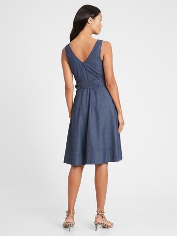 Kadın Mavi V-Yaka Denim Elbise
