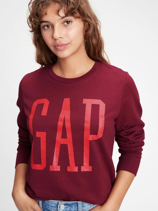 Kadın Kırmızı Gap Logo Yuvarlak Yaka Sweatshirt