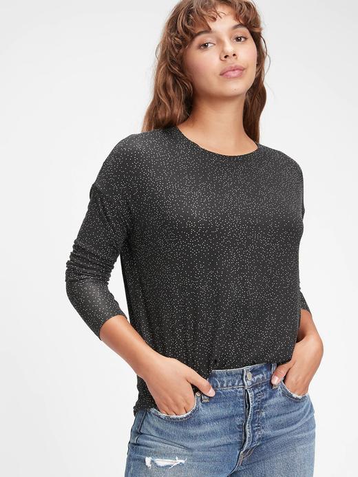 Kadın Siyah Uzun Kollu Puantiyeli T-Shirt