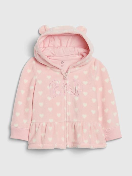 Kız Bebek Pembe Gap Logo Kapüşonlu Polaar Sweatshirt