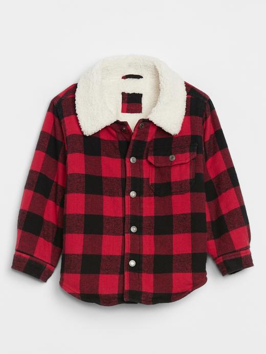 Erkek Bebek Kırmızı Suni Kürk Astarlı Ekose Ceket